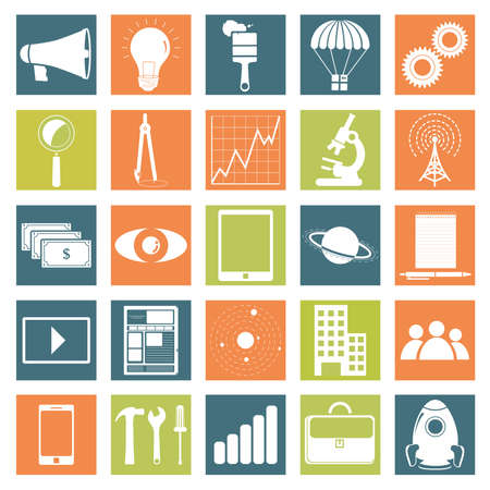 Monochrome icons of technology, business and science with symbols like microscope, brush, notepad, planet, graphic, executive folder, tools, tablet, smarthphone, antenna, money, gear, rocket, magnifying glass, compass