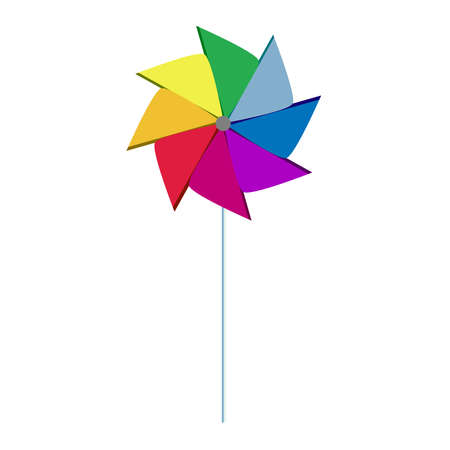Colorful pinwheel with white background  Isolated  Vector