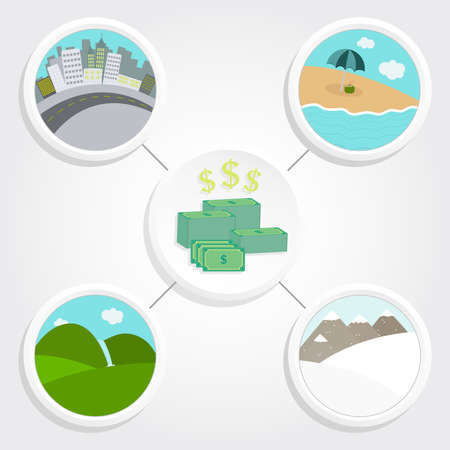 non cash: Several landscapes and a stack of money representing the cost and expenses of travel  Illustration