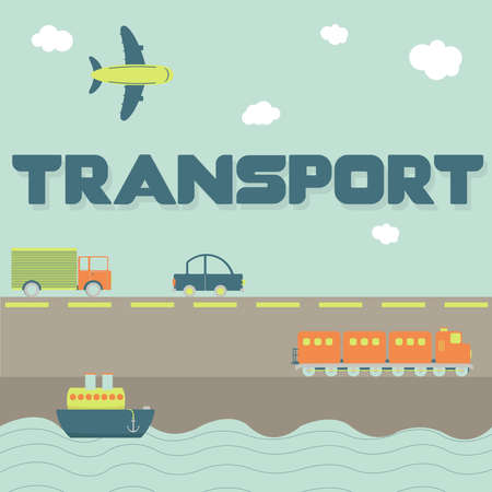 Parola di trasporto e mezzi di trasporto come camion, auto, nave, aereo e treno