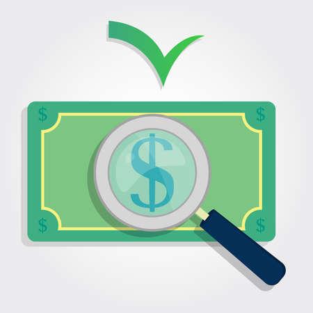 lawful: magnifying glass focusing the dollar sign money  Lawful money  Illustration