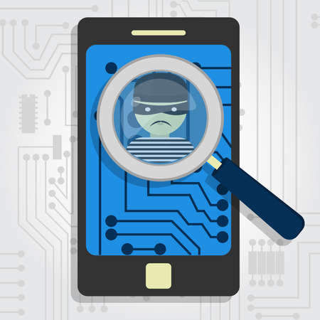 detected: Malware detected on smartphone represented by a magnifying glass focusing on the figure of a thief