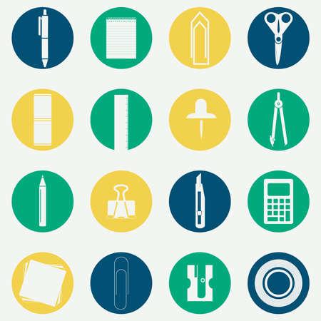 masking: Iconos circulares monocrom�ticos de varios equipos de oficina como tijeras, l�piz, l�piz, comp�s, aguja, calculadora, regla, cinta adhesiva, clips de papel, sacapuntas de l�piz, cuaderno, los documentos y los pasadores de enmascaramiento