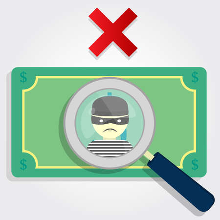 counterfeit: Counterfeit money or stolen  A magnifying glass focusing on a thief with an x