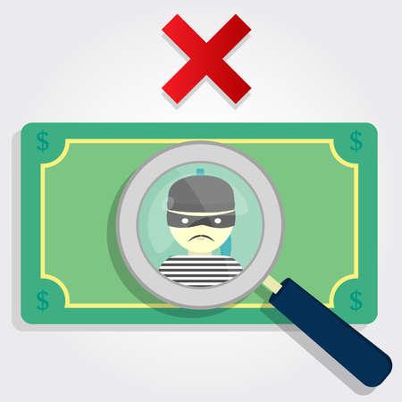 dinero falso: El dinero falsificado o robado Una lupa se centra en un ladrón con una x