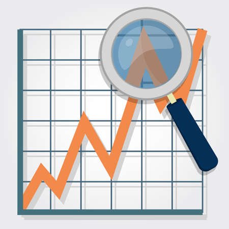 graphical chart: Growth chart with a magnifying glass focusing on a point  Representing success and financial growth  Graphical analysis