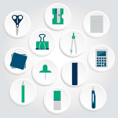 Circular icons of several office supplies as scissors, pencil, pen, compass, stiletto, calculator, ruler, paper clips, pencil sharpener, copybook, papers and pins  Icons of office supplies Ilustração
