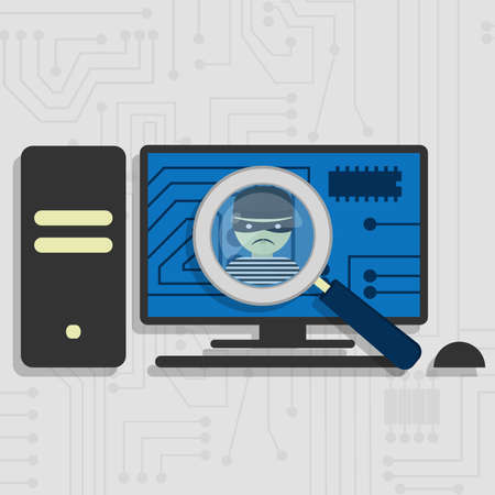 computer hacker: Malware detected on pc represented by a magnifying glass focusing on the figure of a thief Illustration