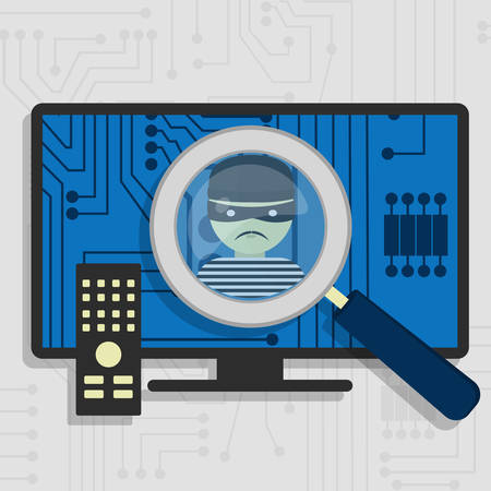 malware: Malware detected on smart tv represented by a magnifying glass focusing on the figure of a thief Illustration