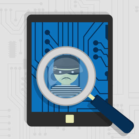 detected: Malware detected on tablet represented by a magnifying glass focusing on the figure of a thief