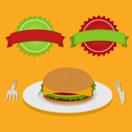 backgraound: A sandwich on the plate with fork and knife  Two decorative labels  Orange backgraound  Sandwich and two labels Illustration