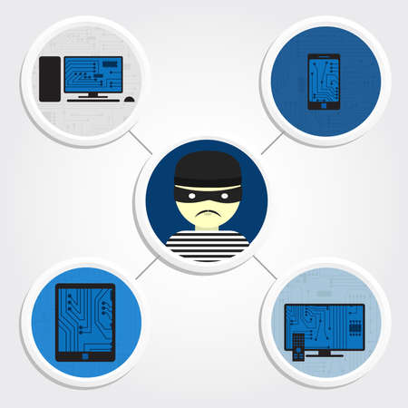 Diagram with several electronic devices and a thief in the center  Stolen electronic devices Vector