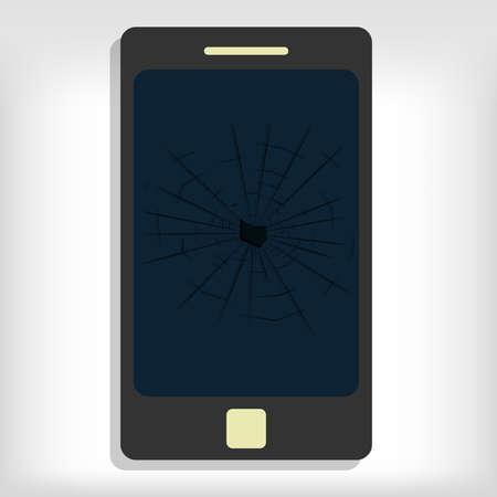 Broken smartphone monitor. Gray background. Editable. Vector