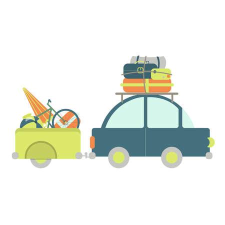 bonne aventure: Voiture avec remorque à bagages. Beaucoup de sacs, vélo, ballon jouet, parasol. Fond blanc.