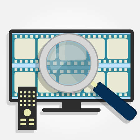 choise: Filmstrips on a smart tv and a magnifying glass. Choosing movies on TV