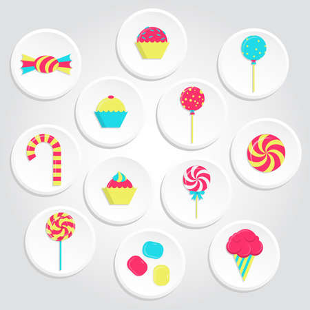 bubble gum: Circular and colorful candy icons with lollipops, ice cream, bubble gum and several candies. Colorful candy icons