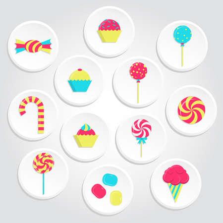 piruleta: Iconos dulces circulares y colores con paletas, helados, goma de mascar y dulces varios. Iconos coloridos del caramelo Vectores