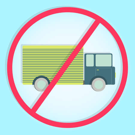 Stylish and colorful no truck sign. Colorful symbol prohibiting trucks Vector