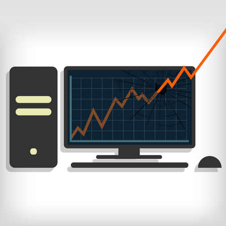 pc monitor: Growth chart breaking pc monitor. Gray background. Editable. Graphic breaking the pc monitor