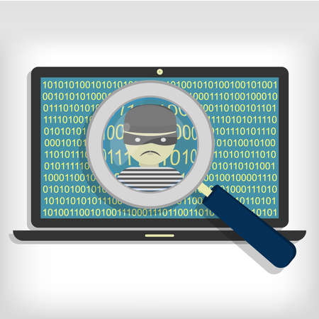 detected: A magnifying glass detected a hacker (thief) on laptop. Hacker detected on laptop Illustration