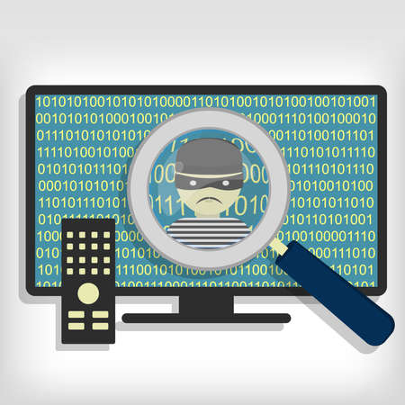 detected: A magnifying glass detected a hacker (thief) on smart tv. Hacker detected on smart tv Illustration