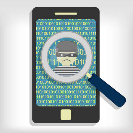 detected: A magnifying glass detected a hacker (thief) on smartphone. Hacker detected on smartphone