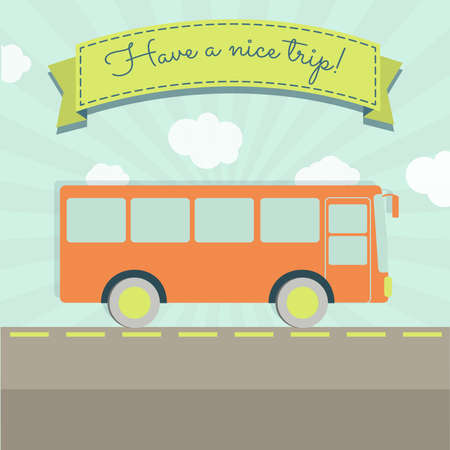 bus station: A bus travel and a ribbon with the text