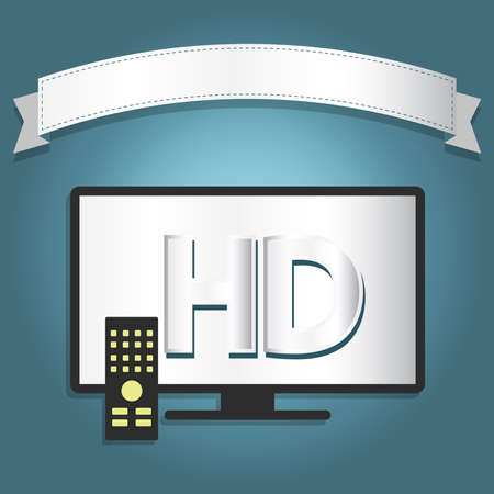 fullhd: High definition tv with a ribbon for insert text.