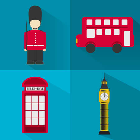 Four symbols of London?s city - london soldier, bus, big ben, phone booth. Flat design. Long shadow. Icons london Vector