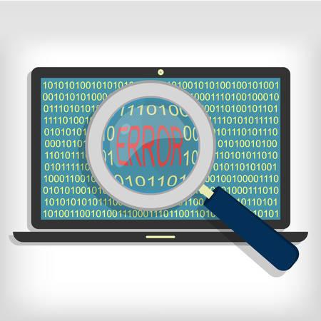 Magnifying glass showing error code on laptop. Laptop error code 일러스트