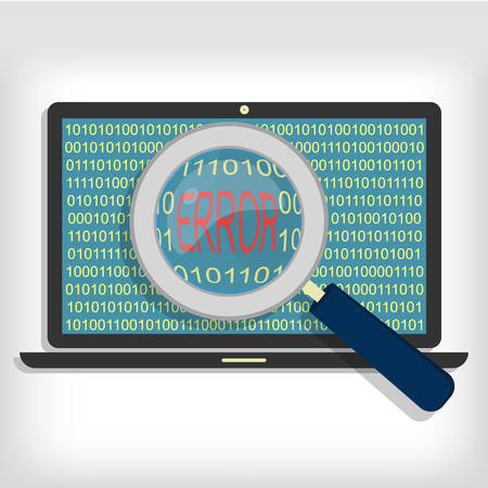 Magnifying glass showing error code on laptop. Laptop error code Ilustracja
