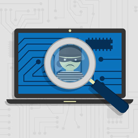Malware detected on laptop represented by a magnifying glass focusing on the figure of a thief