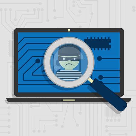 악성 코드 도둑의 모습에 초점을 돋보기로 표시되는 노트북에서 발견 스톡 콘텐츠 - 31206028