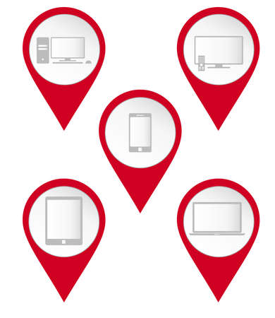 Map pin icons of electronic Vector