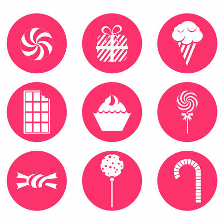 caramel candy: Circular and monochrome candy icons