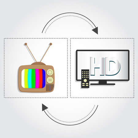 Tv old as opposed to a modern tv in high resolution. Old tv and hd tv Vector