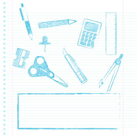 office supply: Set of school supplies drawn in a notebook background. Illustration
