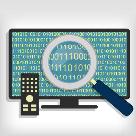 bytes: A magnifying glass searching and looking for sequences of bytes in smart tv. Searching bytes in smart tv Illustration
