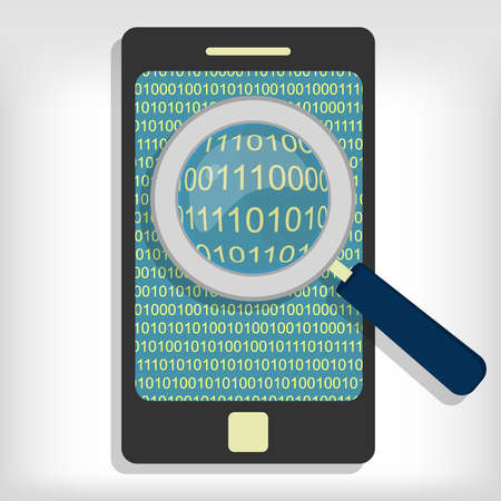 A magnifying glass searching and looking for sequences of bytes in smartphone.  Vector