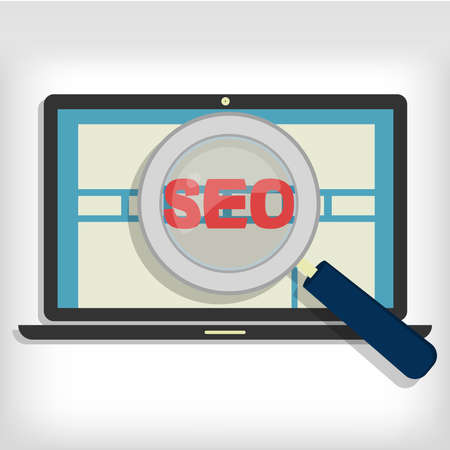 backlink: Magnifying glass focusing on the word representing the optimization of websites in a laptop.  Illustration