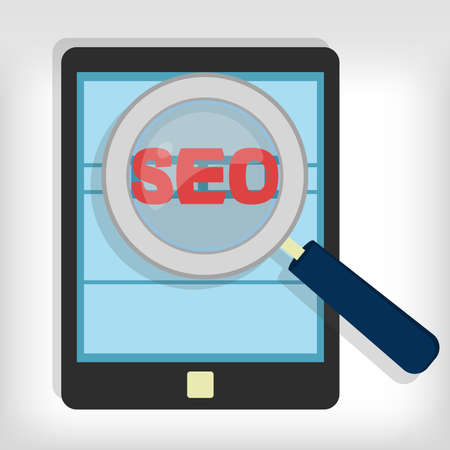 backlink: Magnifying glass focusing on the word  representing the optimization of websites in a tablet.