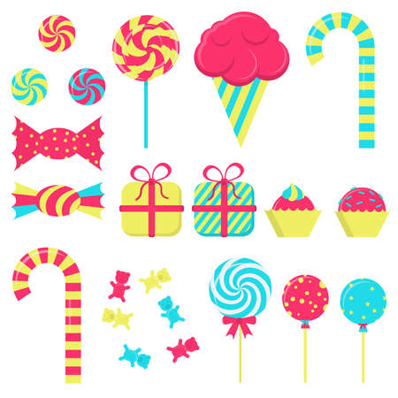 Several candies in white background.  Vector