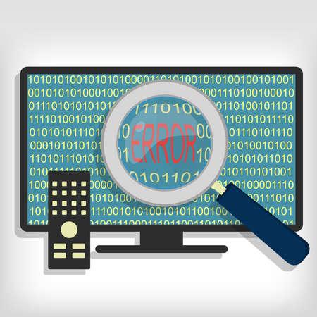 Ampliación de código de error que muestra el vidrio en la televisión inteligente. Código de error SMART TV Ilustración de vector