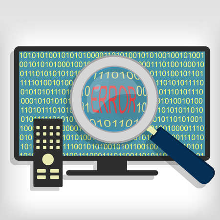 Magnifying glass showing error code on smart tv. Smart tv error code