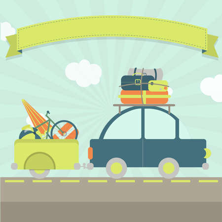 A car with luggage trailer, many bags and a ribbon for insert text.