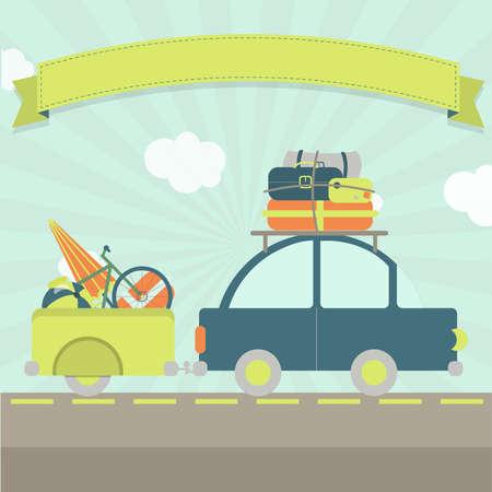 화물 트레일러, 많은 가방 및 삽입 텍스트 리본 자동차. 스톡 콘텐츠 - 31206982