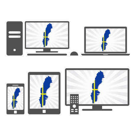 Many device media (tablet, pc, cellphone, laptop, smart tv) with the map and flag of Sweden. Vector