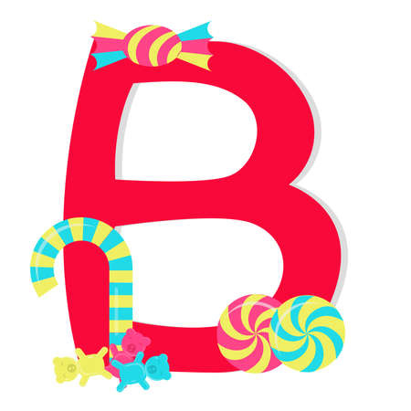 Letter b from stylized alphabet with candies Vector