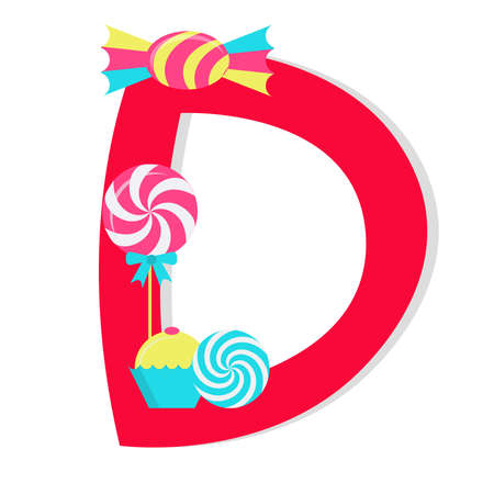 Letter d from stylized alphabet with candies Vector
