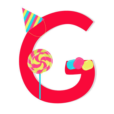 Letter g from stylized alphabet with candies Vector